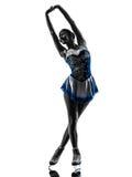 De schaatser van het vrouwenijs het schaatsen silhouet royalty-vrije stock afbeeldingen