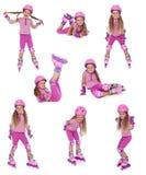 De schaatsermeisje van de rol in verschillende posities Royalty-vrije Stock Afbeeldingen