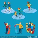 De schaatsers vlakke isometrische vector 3d van het wintersporten snowboarder ijs royalty-vrije illustratie