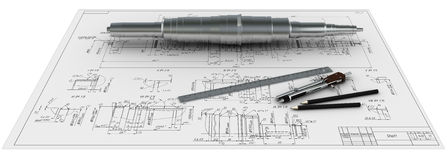 De schacht, de kompassen, de heersers en de potloden van het metaal bij e stock illustratie