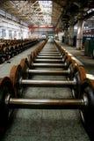 De schachten van het wiel van treinen Stock Afbeelding
