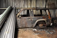 De Schade van Bushfire Stock Foto's