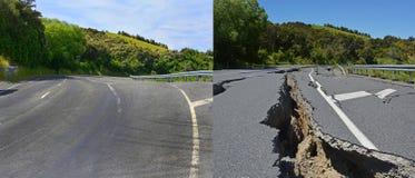 De Schade van de Kaikouraaardbeving in Hunderlees-Heuvels voordien wordt hersteld die stock foto's