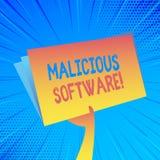 De Schadelijke software van de handschrifttekst Concept die de software betekenen die kwaad aan een Holding van de computersystee stock illustratie