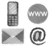 In de schaduw gestelde contactpictogrammen Royalty-vrije Stock Afbeelding