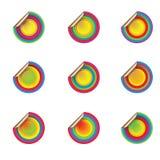 In de schaduw gestelde gekleurde pop stickers Royalty-vrije Stock Afbeeldingen