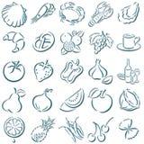 In de schaduw gestelde voedselsymbolen Royalty-vrije Stock Afbeelding