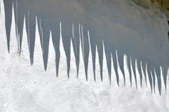 De schaduw van het dak op een witte muur Stock Foto's