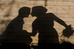 De schaduw van het kussen van jonggehuwden op houten achtergrond royalty-vrije stock foto