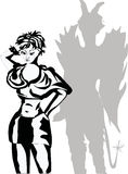 De schaduw van het meisje en van de duivel Royalty-vrije Stock Afbeelding
