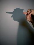 De schaduw van het silhouet van de mens Stock Foto