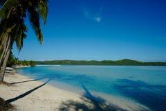 De schaduwen van palmen over strand, onder blauwe hemel. Stock Afbeeldingen