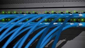 De schakelaar van de netwerkserver stock footage