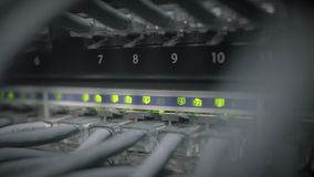 De schakelaar van het netwerkpaneel met het groene geleide opvlammen stock videobeelden