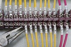 De schakelaarterminal van de draad Stock Foto
