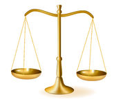 De schalen van het messing van rechtvaardigheid. Vector. vector illustratie
