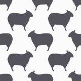 De schapen silhouetteren naadloos patroon De achtergrond van het lamsvlees Royalty-vrije Stock Foto