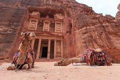 De Schatkist, Al Khazneh, in Petra, Jordanië Stock Afbeelding