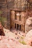 De schatkist. Oude stad van Petra, Jordanië Royalty-vrije Stock Foto