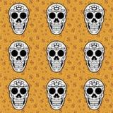 De schedel bruin naadloos patroon van de suiker Royalty-vrije Stock Afbeeldingen