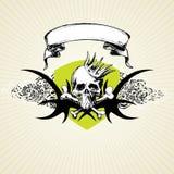 De schedel en de kroon van Grunge Royalty-vrije Stock Fotografie