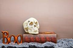 De schedel en het boe-geroep van Halloween Stock Foto's
