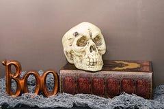 De schedel en het boe-geroep van Halloween Stock Foto