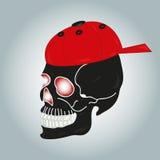De schedel in rode bitbake Stock Afbeeldingen