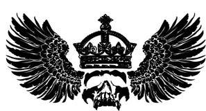 De Schedel van de kroon op een Vleugel. Royalty-vrije Stock Fotografie