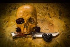 De schedel van de stillevenliefde Stock Afbeelding