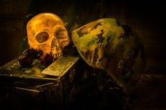 De schedel van de stillevenmilitair Royalty-vrije Stock Afbeeldingen