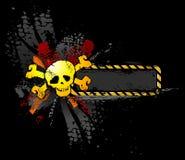 De schedel van Grunge met tekstbanner Royalty-vrije Stock Afbeeldingen