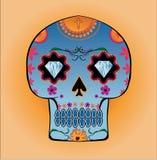 De schedel van het suikergoed met diamantogen en bloemenpatronen Royalty-vrije Stock Fotografie