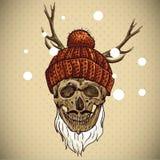 De Schedel van Kerstmishipster De illustratie van de winter Stock Foto