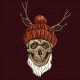 De Schedel van Kerstmishipster De illustratie van de winter Stock Afbeelding