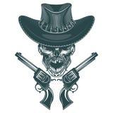 De schedel van a mustached cowboy met pistolen Zwart-wit hand getrokken tatoostijl stock illustratie