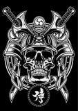 De schedel van de samoeraienstrijder met traditioneel Japans zwaard van katana royalty-vrije illustratie
