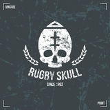 De schedelembleem van het rugbyteam Royalty-vrije Stock Foto