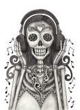 De schedelkunst luistert aan muziekdag van de doden Royalty-vrije Stock Foto's