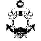 De schedelpistolen van het ankerstuurwiel royalty-vrije illustratie