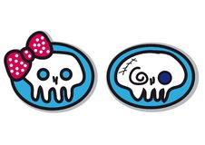 De schedels van de jongen en van het meisje Stock Afbeelding