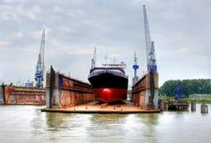 De scheepswerf in eemhaven bij de haven van Rotterdam, Stock Afbeelding