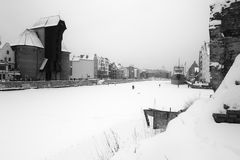 De scheepswerf van Gdansk in de winter royalty-vrije stock afbeeldingen