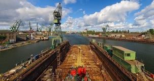De Scheepswerf van Gdansk in een panorama Stock Afbeelding