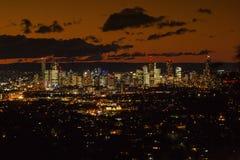 De Schemer van Brisbane CBD royalty-vrije stock afbeeldingen