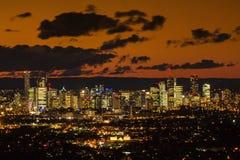 De Schemer van Brisbane CBD royalty-vrije stock foto's