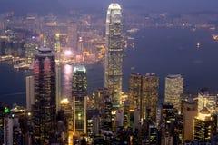 De Schemer van de Haven van Hongkong Royalty-vrije Stock Foto's