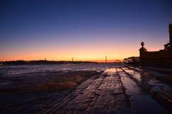 De Schemer van Lissabon Royalty-vrije Stock Fotografie