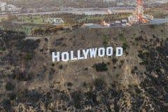 De Schemerantenne van het Hollywoodteken Royalty-vrije Stock Foto's