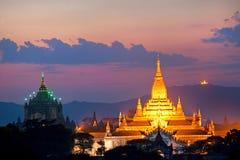 De schemering van Bagan, Myanmar. Stock Fotografie